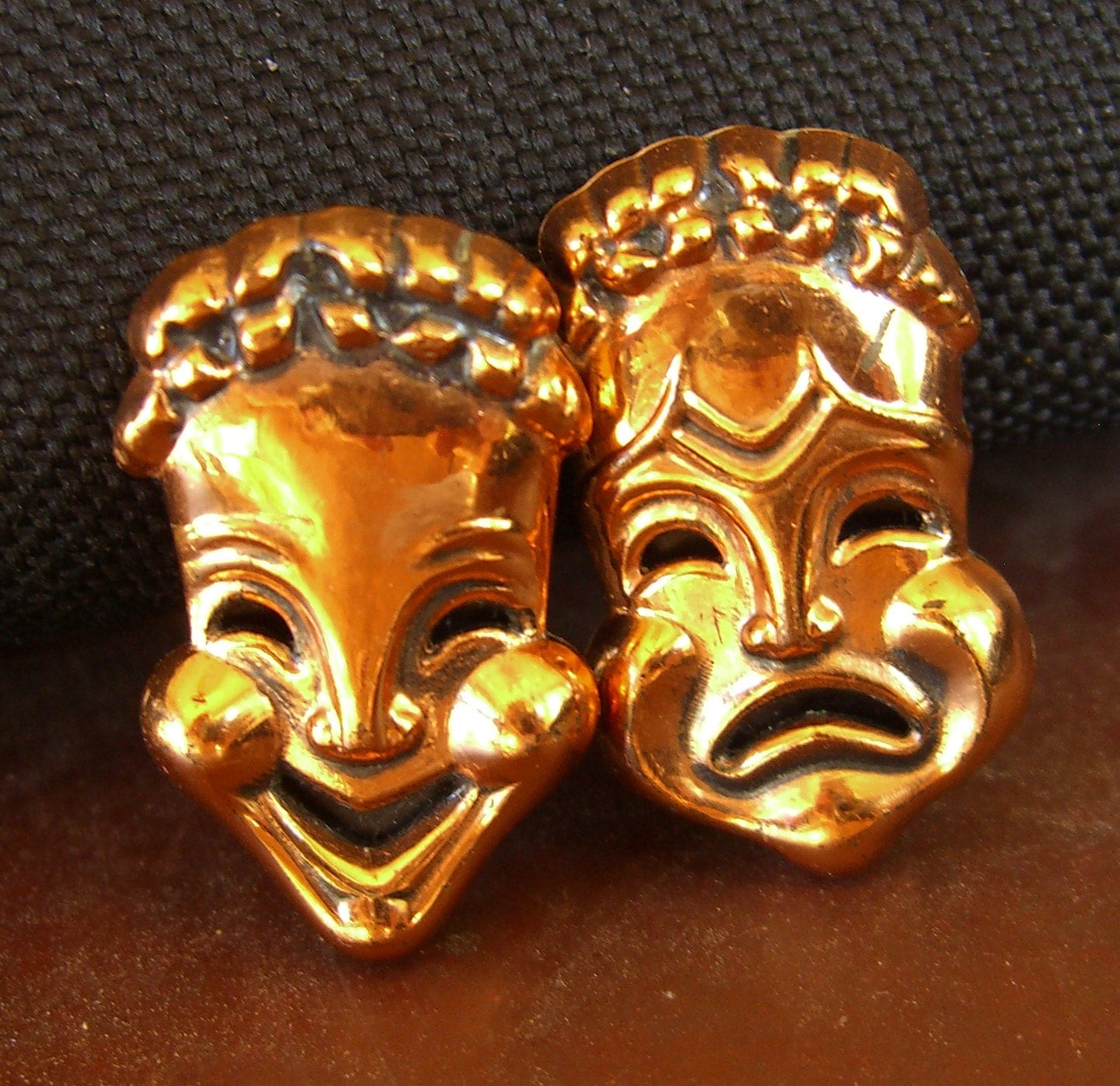 Vintage Renoir Earrings Comedy Tragedy Drama Masks Clip Back