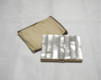 Mother of Pearl Cigarette Case with Protective Sleeve - 1950s Vintage