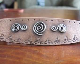 Handmade Copper and Sterling Silver French Barrette