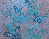 20 pc Shapes Scroll Butterfly Butterflies Die Cuts Blue Ombre Colors Teal Turqouise cardstock Wall Hang Photo Shoot Prop DIY Baby Wedding