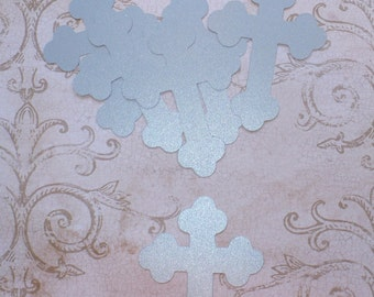10  Cross Die Cut shape pieces made from Silver Shimmer Cardstock Religious Easter Baptism Communion Centerpiece Craft Decorations Cards