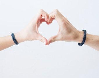 Best Friends Bracelet Set / Leather / Navy Blue