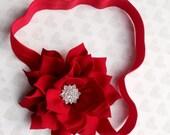Red flower  Christmas Headband Rhinestone flower,Girl headband .
