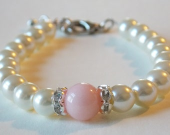 Pink Bracelet Bridesmaids Jewelry Petal Pink Bridesmaids Bracelet Pink Wedding Jewelry Baby Pink Bridesmaid Pink Wedding Bracelet Light Pink