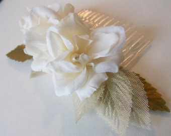 Gold Wedding Hair Piece Elegant Bridal Hairpiece Flower Hair Comb Decorative Comb Bridal Accessories Ivory Hair Flowers Bride Wedding Hair