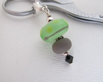 Sea Glass Green Polka Dot Scissor Fob