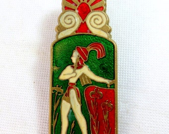 Art Deco Clip, Egyptian Revival Champleve Enamel On Brass Large Paper Clip 1930s