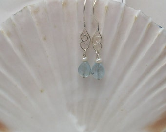 Aquamarine and Pearl Cloud Earrings
