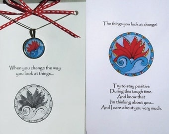 Empathy Card - Empathy greeting card - Silver Lining card - Lotus Greeting Card Necklace gift set