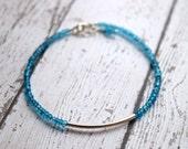 Blue Topaz and Sterling SIlver Bracelet, Gemstone Bangle, December Birthstone