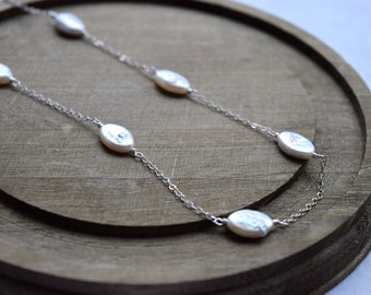 Freshwater Pearl Necklace, Sterling Silver or Gold Chain, June Birthstone