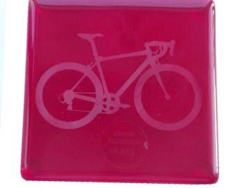 Red Bike Fused Glass Coaster
