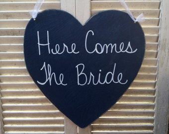 Here Comes The Bride Heart Wedding Sign, Wooden Navy Blue Wedding Decor, Ring Bearer and Flower Girl Sign