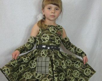 Girl's Camo Dress, Sample Sale,Twirly Camo Dress, Girl's Camouflage Dress, Full Circle Camo Dress, Belt, Gauntlets, Hero Medal, Size 4