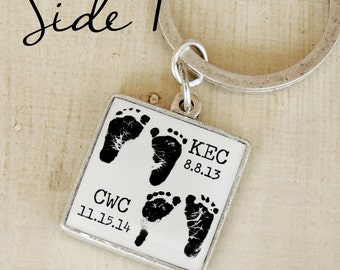 Baby Footprint Keychain - Child's Footprints - Personalized Keychain - A Son's First Hero, A Daughter's First Love - Father's Day