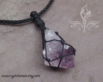"""Amethyst Point Macrame Pendant on 19"""" Black Nylon Necklace with Stainless Steel Clasp (TM0061)"""