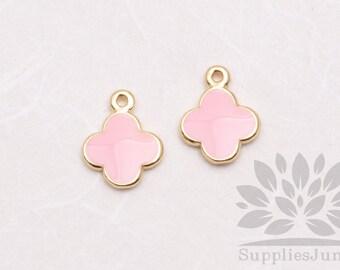 P600-02-PK// Gold Plated Pastel Pink Epoxy Daisy Pendant, 2 pcs