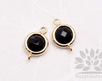 F124-G-BL// Gold Plated Black Rounded Glass Pendant Connector, 2 pcs