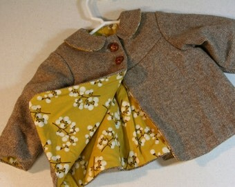 Repurposed suit coat/infant swing coat-baby girl-butterscotch and snow berries-lined jacket-1940s style-hand embellished