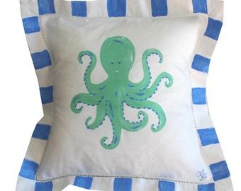 Green and Blue Octopus Beach PIllow