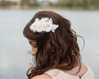 SALE Light ivory lace and crystal bridal headpiece