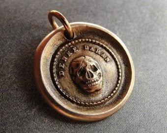 Skull Wax Seal Charm - Memento Mori antique wax seal jewelry pendant German motto in bronze by RQP Studio