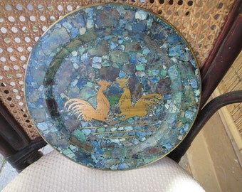 Rooster plate made of Lapis and brass
