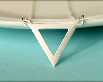Triangle Necklace, Available in Matte Gold and Matte Silver