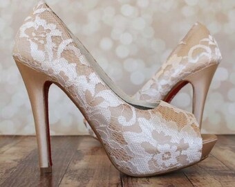 Champagne Wedding Shoes, Lace Wedding Shoes, Wedding Shoes Lace, Ivory Lace Wedding Shoes, High Heel Wedding Shoes, Champagne Wedding