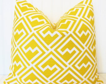 Yellow Pillow.Throw Pillow.Decorative Pillow Cover.Yellow Accent Pillow.Cushion Cover.Geometric Pillow