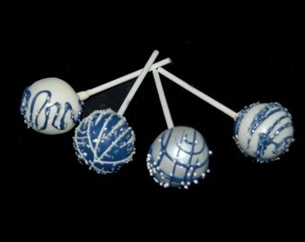 SILVER AND BLUE Cake Pops, Pearlscent Cake Pops, Wedding Cake Pops