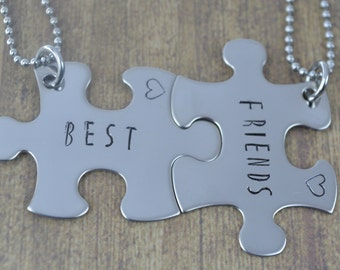 Stainless Steel Best Friends Puzzle Piece Necklace Set, Hand Stamped Jewelry, Gifts for Best Friends by Miss Ashley Jewelry