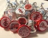 64 Fireman Fire Truck Themed Hershey Kiss Stickers - Fire Fighter Favors, Fireman Party, Fireman Sam, Fire Truck