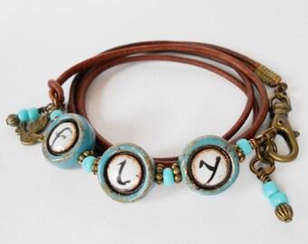 aqua inspirational wrap bracelet, beaded leather wrap bracelet, bohemian wrap bracelet, unique OOAK 'fly' leather bracelet, gift for her