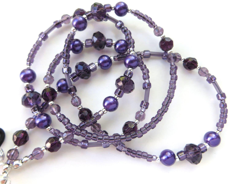 purple beaded eyeglass lanyard sparkling crystals