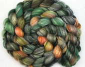 Handpainted roving - Strolling in the Rain - Bamboo / Merino wool spinning fiber, 4.1 ounces