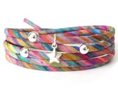 Liberty fabric bracelet in psychedelic rainbow colours, striped cotton cord wrap with star charm, jewellery gift for girls,
