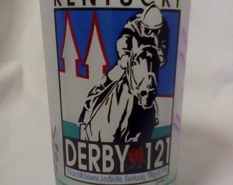 AUTOGRAPHED 1995 Kentucky Derby Glass signed by winning jockey