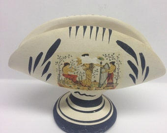 Napkin Holder, Greek Mythological, Ceramic Napkin Holder, White and Black , Women, Folk Art,  Signed, Handmade Vintage, Mid Century