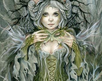 Faery Art Print, Elven, Elves, Forest lady, Spider wings, Masked, Janna Prosvirina