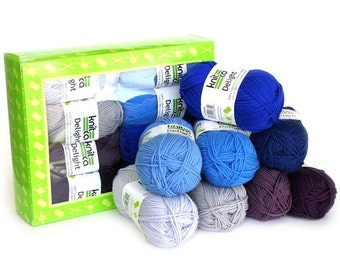 Delight Blues - Yarn Kit - 8 balls of soft superwash merino wool in shades of blue