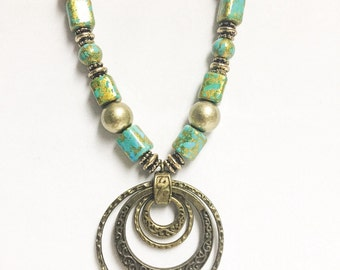 Rustic Aged Turquoise and Gold Colored Necklace