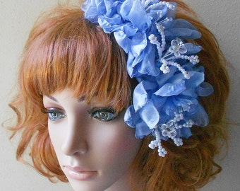 Bridal Fascinator- Blue Quinceanera Butterfly Headpiece-With Pearls Crystal Butterflies- Blue Flower Women's Fascinator