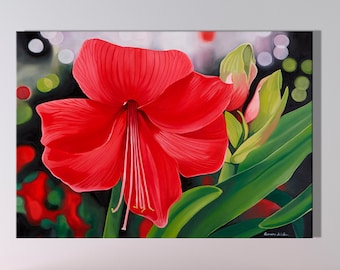 Red Amaryllis Canvas Print- Fine Art Flower Painting- Large Wall Art- Various Sizes