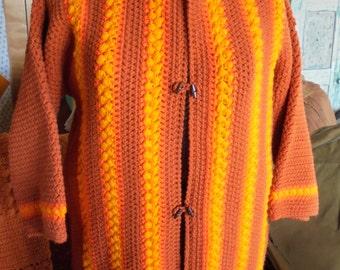 VINTAGE CROCHET SWEATER, wool hand knit, oversize, chunky, cinnamon, orange, bright mustard, jacket coat