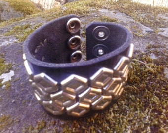 Black leather studded wrist cuff