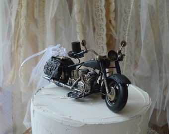 Motorcycle-wedding-cake topper-motorcycle topper-Harley rider-themed wedding-groom's cake topper-bride and groom-rider-ring holder-metal