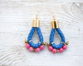 Blue and pink jade Earrings with 14K gold-filled ear wires