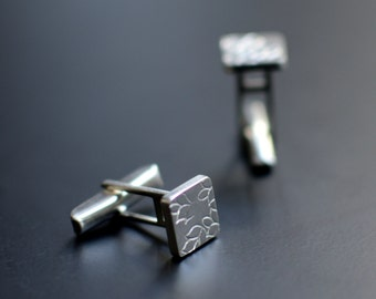 Sterling Silver Cuff Links, Wedding Cuff Links, Square, Leaves, Modern, Contemporary