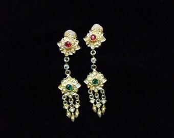 Golden Thai earrings with diamontes, vintage costume jewellery